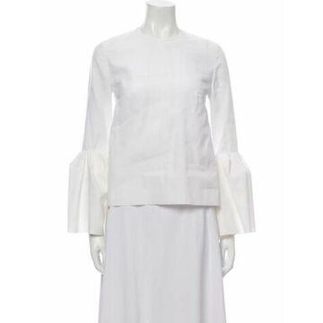 Crew Neck Long Sleeve Blouse White
