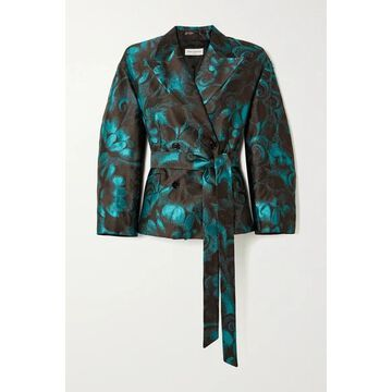 Dries Van Noten - Belted Double-breasted Floral-jacquard Blazer - Turquoise
