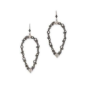Armenta Sterling Silver New World Champagne Diamond & White Sapphire Open Pear Drop Earrings