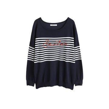 Violeta BY MANGO - Sequin message sweater dark navy - XS - Plus sizes