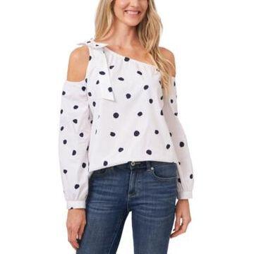 CeCe Polka Dot Asymmetric Cold-Shoulder Top