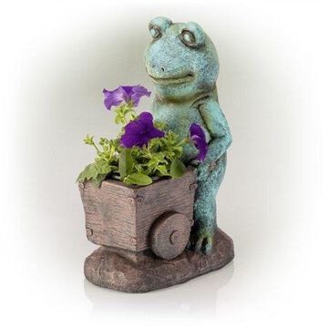 Alpine Frog Holding a Wagon Statue, 15 Inch Tall
