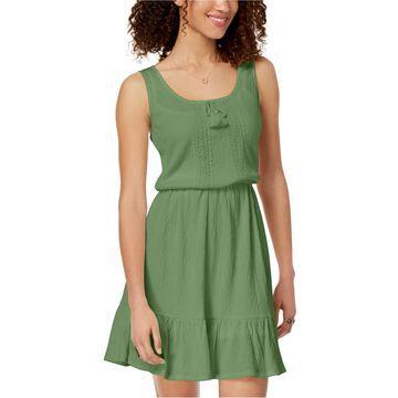 Be Bop Womens Ruffled-Hem Peasant Dress