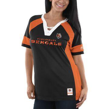 Women's Majestic Black/Orange Cincinnati Bengals Draft Me V-Neck T-Shirt