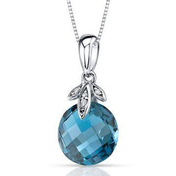 Oravo 14k White Gold London Blue Topaz and Diamond Pendant 4.5 carat