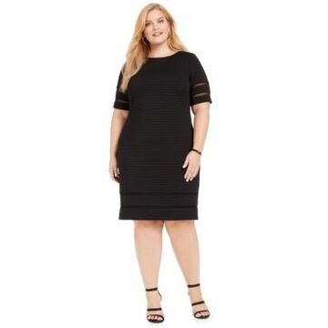 Jessica Howard Plus Size Illusion-Trim Ribbed Dress