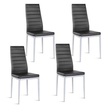 Costway Set of 4 PU Leather Dining Side Chairs Elegant Design Black