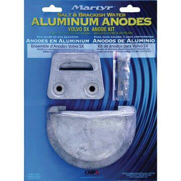Martyr Aluminum Anode Kit For Volvo Penta SX Engine (Contains 1-3855411, 1-3854130 and Fastening Hardware)