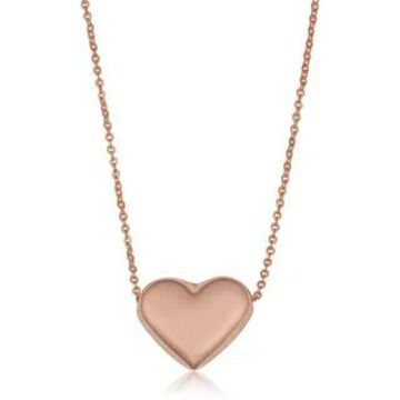 Fremada 14k Gold Charming High Polish Puff Heart Necklace (yellow gold or rose gold or white gold) (Rose)