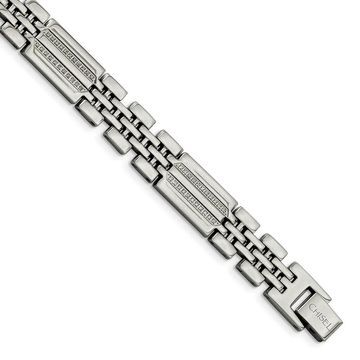 Chisel Stainless Steel Polished with Diamonds Fancy 8.75 Inch Bracelet