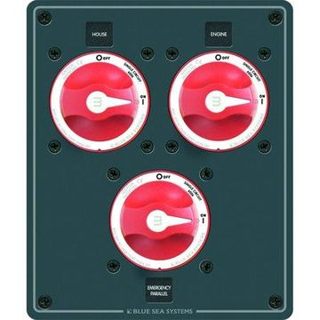 Blue Sea Systems 8280 Traditional Metal Dual Bank Battery Management Panel, 3 Battery Switches