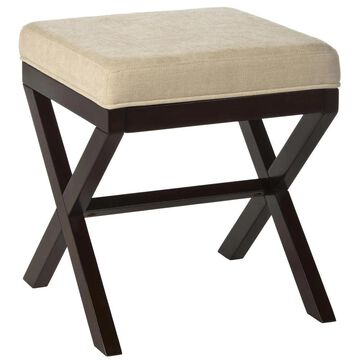 Hillsdale Furniture Espresso and Avignon Stone Square Makeup Vanity Stool Polyester in Brown | 50964