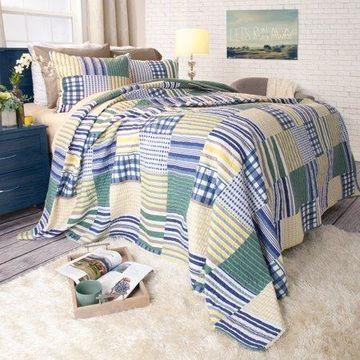 Somerset Home 3pc Lynsey Patchwork 3 Piece Full/Queen Quilt Bedding Set