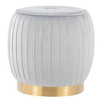Tania Ottoman Velvet/Steel Gold/Silver - LumiSource