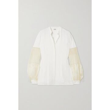Loewe - Crepe De Chine And Pleated Embroidered Silk-chiffon Blouse - White
