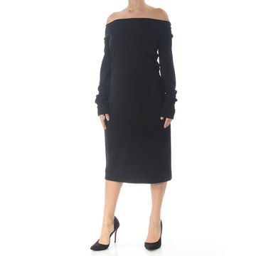 NARCISO RODRIGUEZ Womens Black Long Sleeve Below The Knee Dress Size: 10