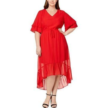 NY Collection Womens Plus Hi-Low Tea-Length Casual Dress