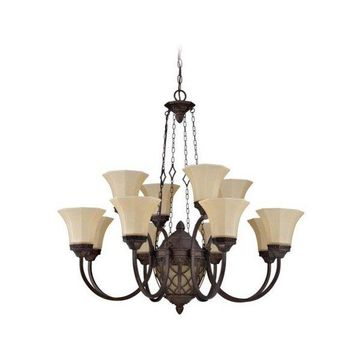 Jeremiah-Lighting Evangeline 12-Light Chandelier, Peruvian Bronze
