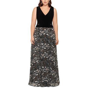Xscape Womens Plus Evening Dress Printed Sheer - Black/Snake