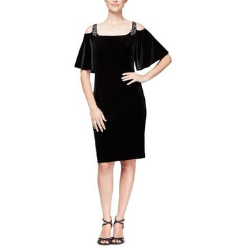 Alex Evenings Womens Cocktail Dress Velvet Cold Shoulder