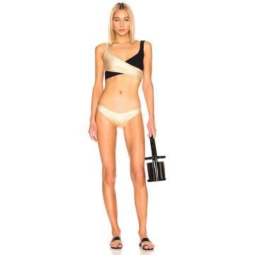 Lisa Marie Fernandez Marie-Louise Crepe Bikini in Gold & Black   FWRD