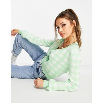 Liquorish knitted cropped cardi in mint check - part of a set-Multi