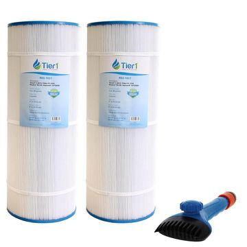 Tier1 Hayward C1200 Star-Clear Plus, Filbur FC-1293, Pleatco PA120, Unicel C-8412 Comparable Replacement Pool Filter Cartridge 2-Pack Bundle with Tier1 Wand Brush Filter Cleaner