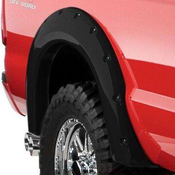 2008 Ford F-250 Bushwacker Pocket Style Fender Flares in Smooth Black, Rear Set (2 Piece)