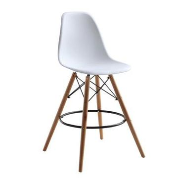 Fine Mod Imports Woodleg Bar Chair, White