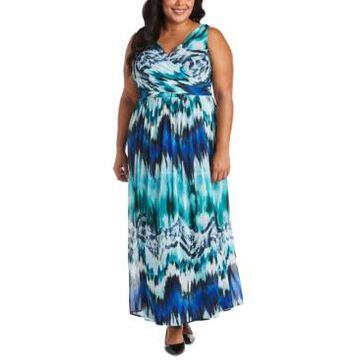 R & M Richards Plus Size Tie-Dyed Maxi Dress