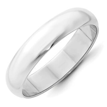 10K White Gold Polished 5mm Standard Fit Half Round Wedding Band by Versil