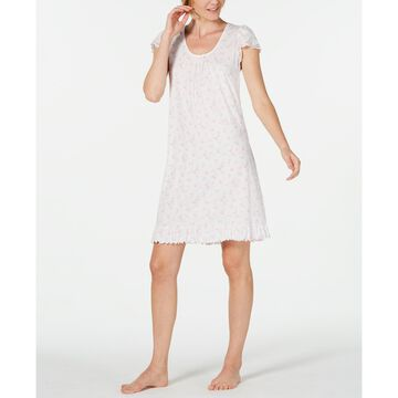 Flutter-Sleeve Printed Knit Nightgown