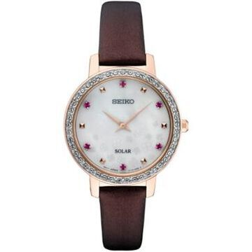 Seiko Women's Solar Crystal Burgundy Leather Strap Watch 30mm