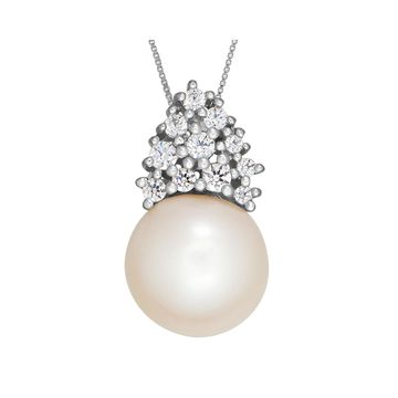 Certified Sofia Bridal Cultured Freshwater Pearl & Swarovski Cubic Zirconia Silver Pendant