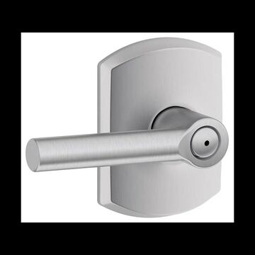 Schlage F40-BRW-GRW Broadway Privacy Door Lever Set with Decorative Greenwich Trim Satin Chrome Leverset Privacy