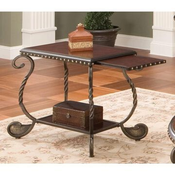 Riviera Wood and Metal Chairside End Table by Greyson Living by Greyson Living