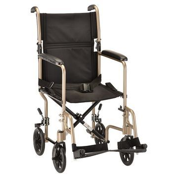 Nova Transport Chair with Fixed Arms 19 Inch Champagne