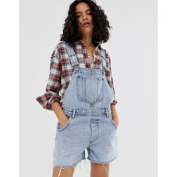 Cheap Monday recycled Chore denim overall shorts with raw hem-Blue