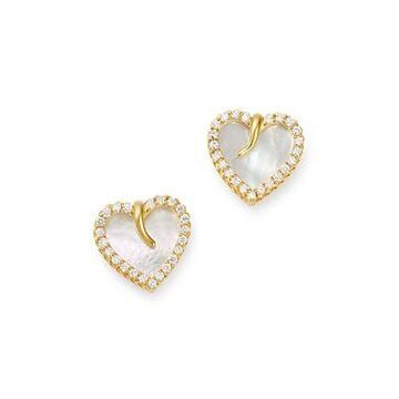 Roberto Coin 18K Yellow Gold Mother-of-Pearl & Diamond Heart Stud Earrings - 100% Exclusive