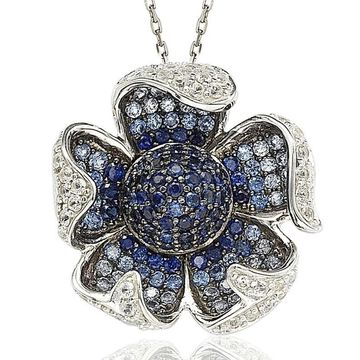 Suzy Levian Sterling Silver Sapphire and Diamond Pave Flower Pendant with Chain - Blue