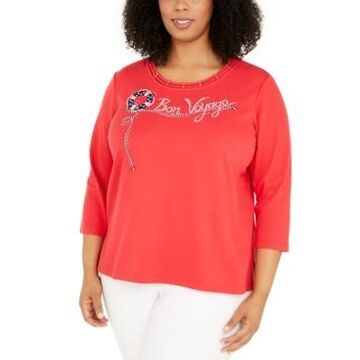 Alfred Dunner Plus Size Ship Shape Lattice-Neck Top
