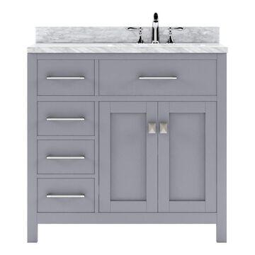 Virtu USA Caroline Parkway 36-in Gray Undermount Single Sink Bathroom Vanity with Italian Carrara White Marble Top | MS-2136L-WMSQ-GR-NM