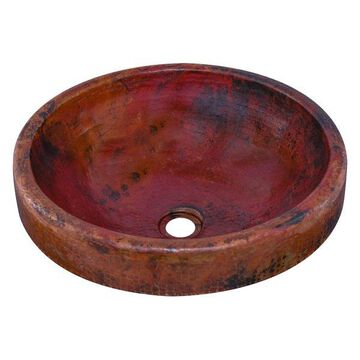 GRANADA Round Surface Mount Copper Sink with Antigua Finish, 17-Inch Diameter, N