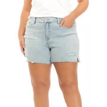 American Rag Women's Plus Size High Rise Frayed Hem Shorts - -