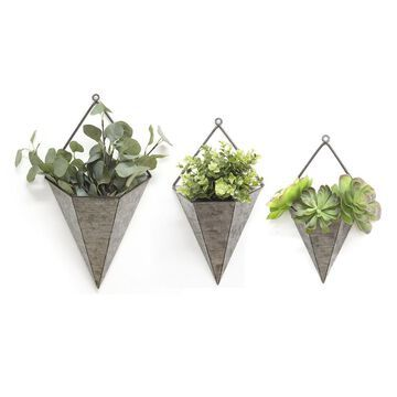 Stratton Home Decor 3pc. Triangular Galvanized Wall Planters