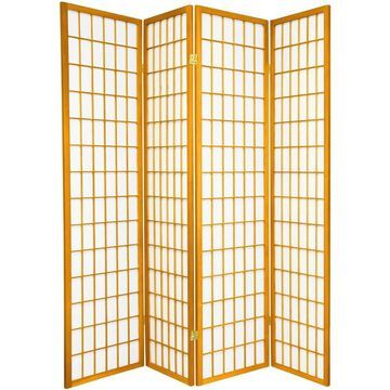 Oriental Furniture 4-Panel Honey Paper Folding Shoji Style Room Divider in Orange | SSCWP-4P-HON