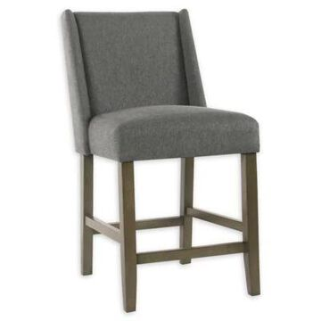 Homepop Wood Upholstered Bar Stool in Grey