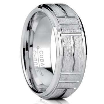 Oliveti Cobalt Men's Grooved Textured Brushed Finish Comfort Fit Ring