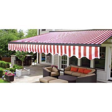 ALEKO Motorized Half Cassette Retractable Patio Awning 10x8 ft Red/White Color (Red and White Stripes)