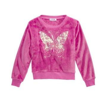 Beautees Big Girls Sequin Butterfly Sweatshirt